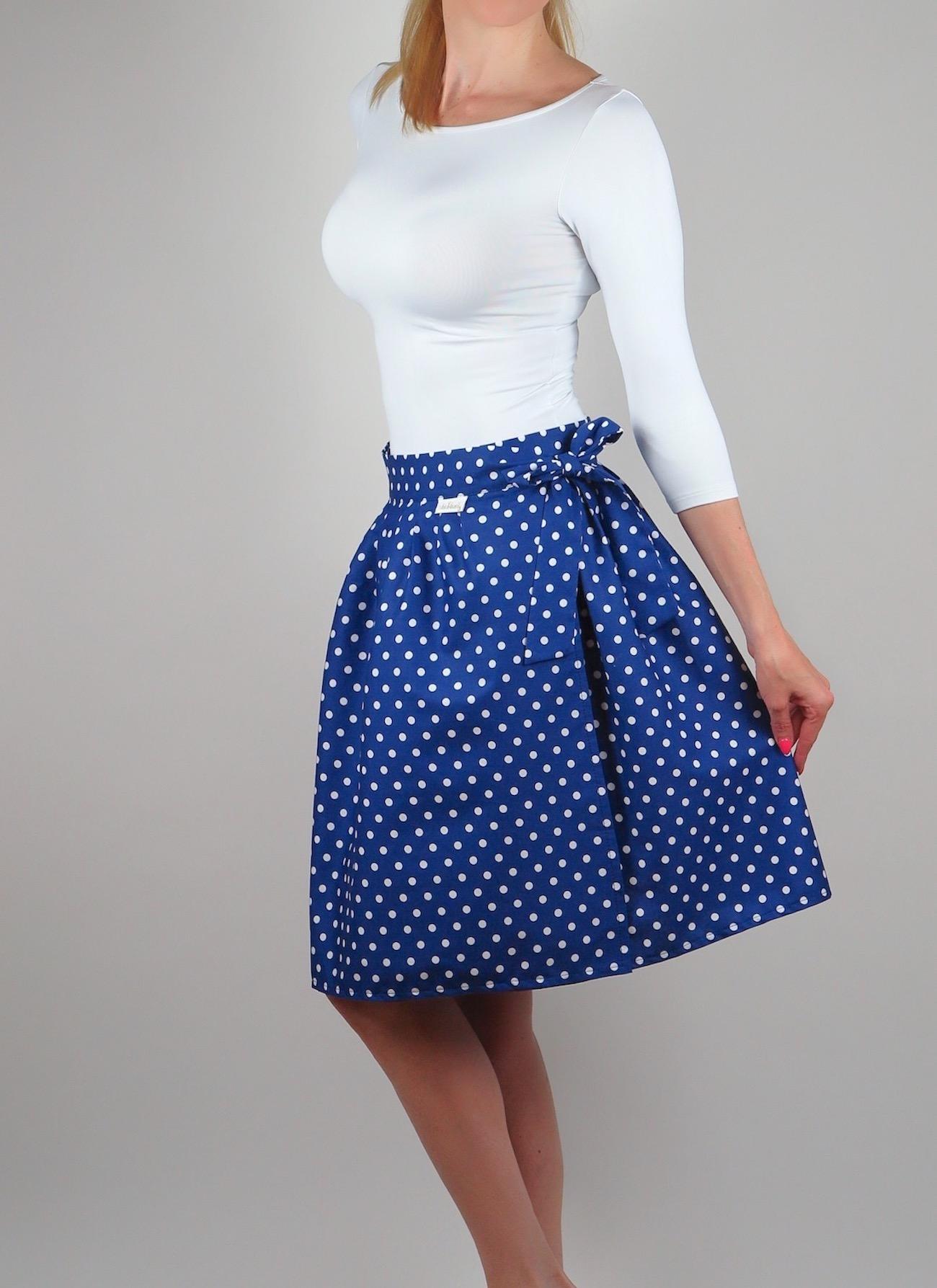 9b2167a07204 Zavinovací sukně Retro puntíkatá modrá.