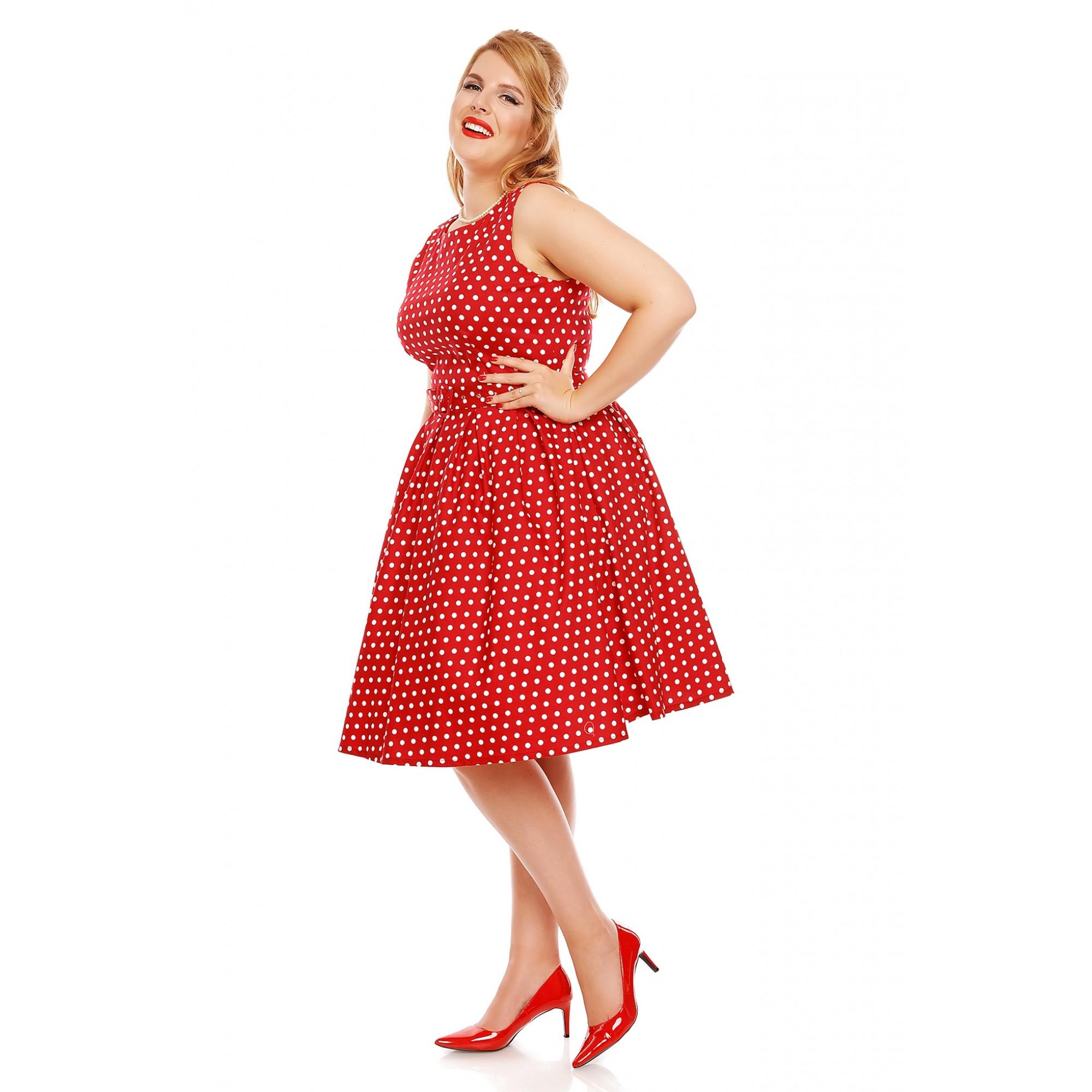 045a1c5b80c Štylové červené retro šaty s bílýmy puntíky