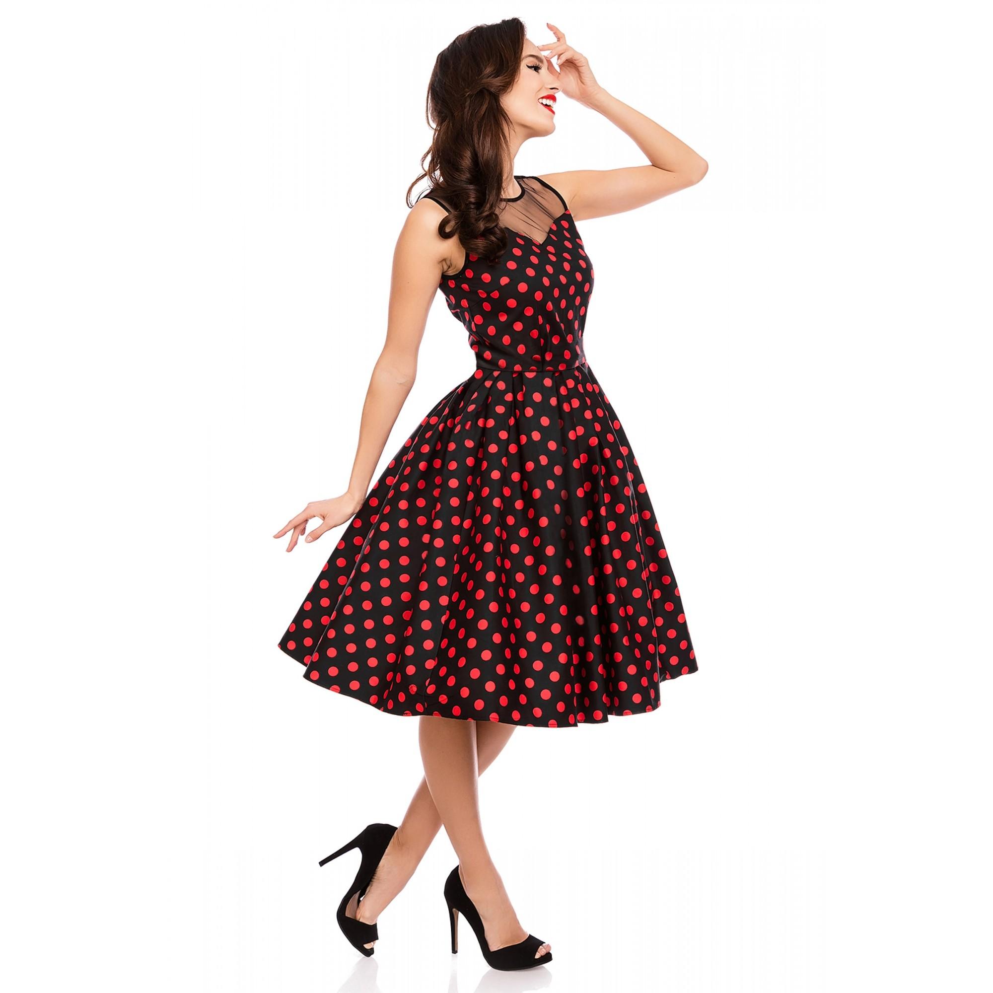 Retro šaty červené puntíkaté černo červené Elizabeth b38854b4c8