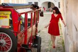 Červené bambusové šaty Ruženka