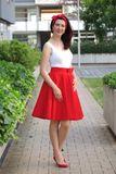 Kolová červená sukně Lovely