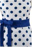 Šatová zástěra bílá velké modré puntíky