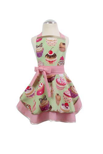 Dívčí kuchyňská zástěra Cupcake green