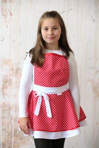 Dívčí kuchyňská zástěra red dots