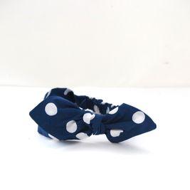 Čelenka Retro modrá puntíkatá s mašlí dámská