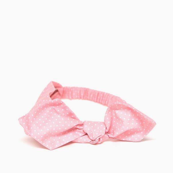 Čelenka růžová tečkovaná s mašlí pink dámská