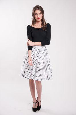 Kolová puntíkatá sukně bílá