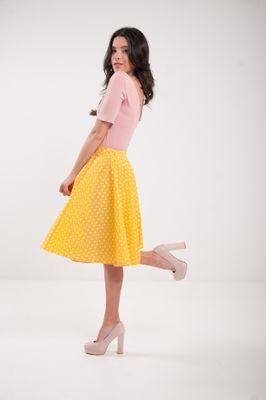 Kolová puntíkatá sukně žlutá