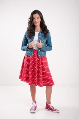 Kolová puntíkatá sukně červená