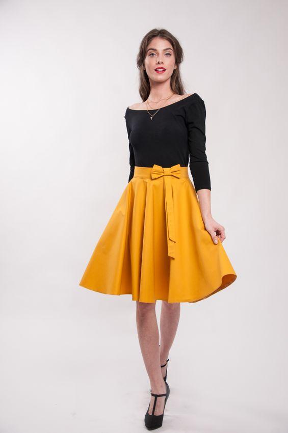 Kolová okrová sukně Lovely