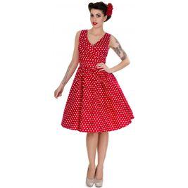 Retro šaty červené puntíkaté Maggy