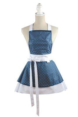 Šatová kuchyňská zástěra Chic blue dots