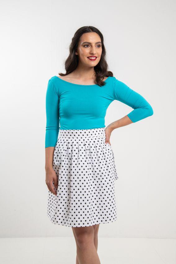 Zavinovací sukně puntíkatá Retro bílá