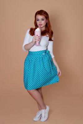 Zavinovací sukně puntíkatá Retro tyrkysová
