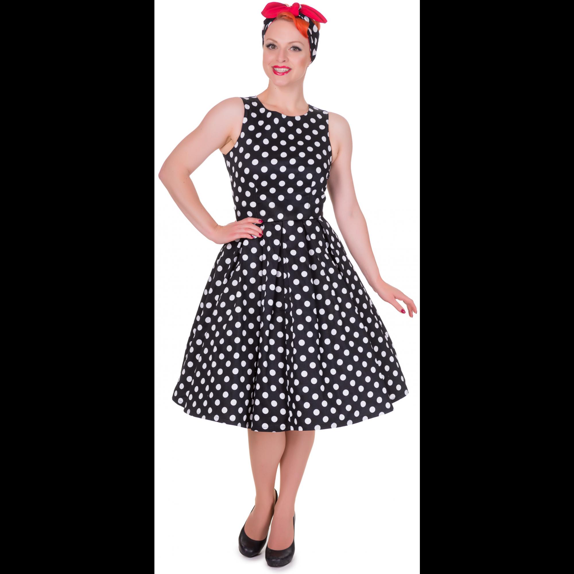 ed0473855b2c Štylové černé retro šaty s bílýmy puntíky