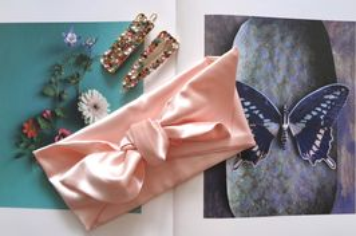 Saténová čelenka růžová