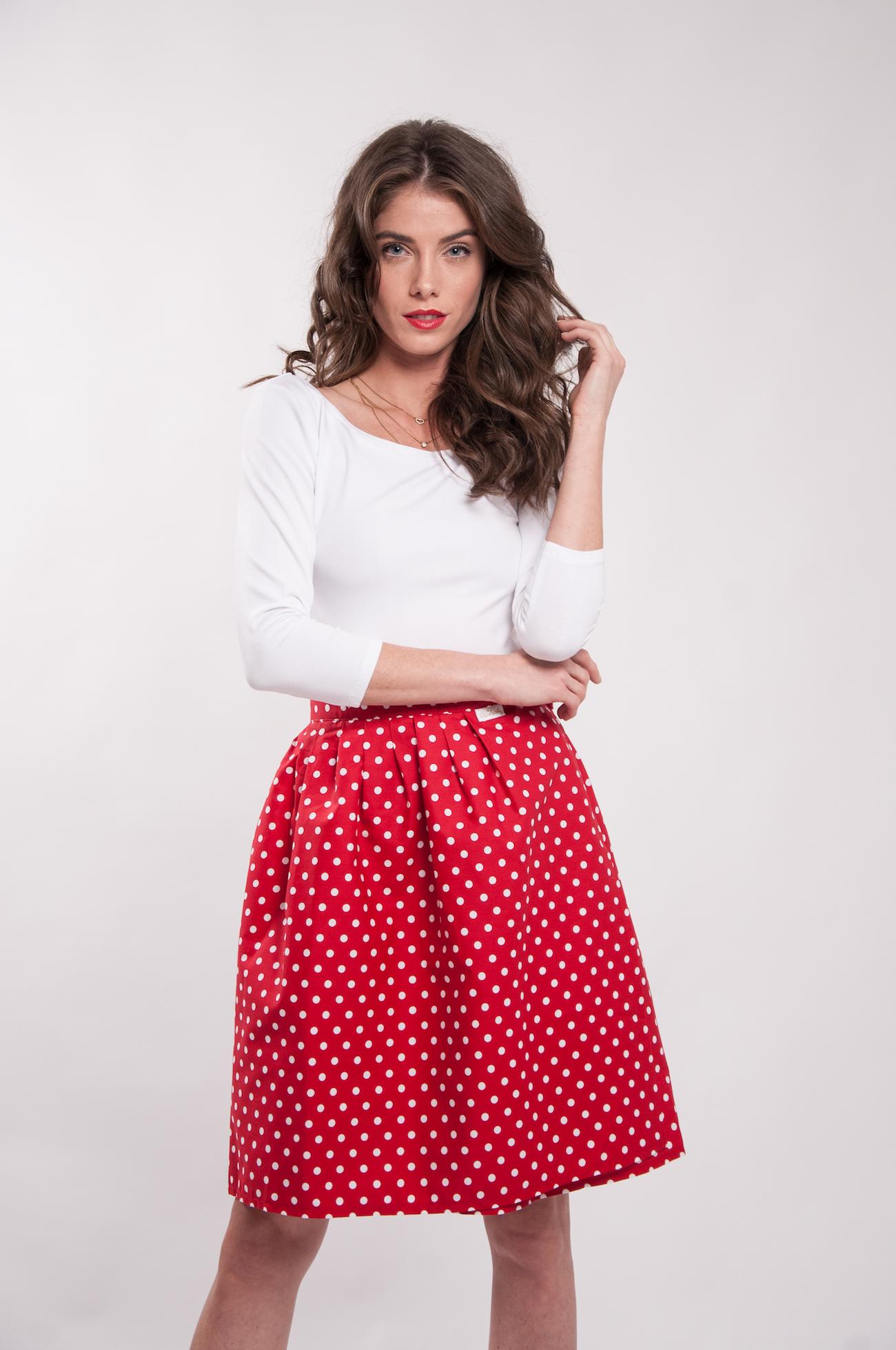Zavinovací sukně Retro puntíkatá červená. 00db1b87d4
